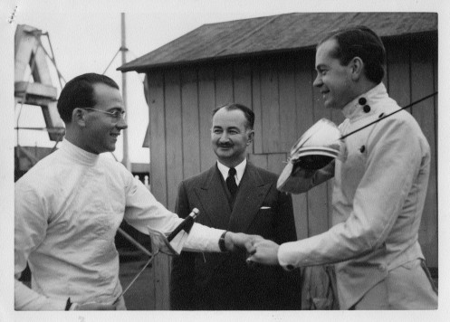 Michael O'Brien (Sabre Champion), Julius Pollack (President AAFF), Hon. Simon Warrander (English Fencer)