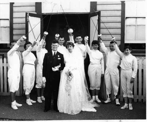 Fencing Wedding - Cec. Futcher Takes the Plunge. Local Brisbane fencers form Guard of Honor