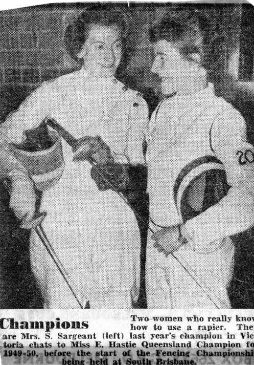 L-R: Shirley Sargeant (Aust. 1950 Champion), Edna Hastie (1949-50 QLD Champ.)