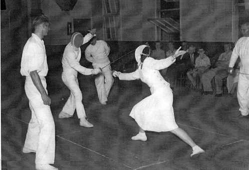 Kuripla Hall West End Brisbane. Fencer on Right Beryl Elliot  and Presiding Neville Brown