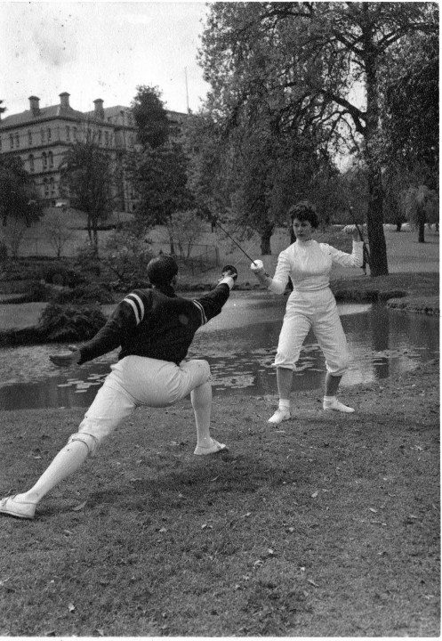 Denise O'Brien and Coach Michael O'Brien Training for 1956 Olympics