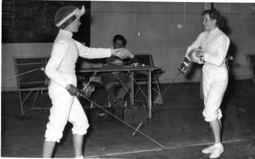 L-R: Denise O'Brien and Fencer from Hungary