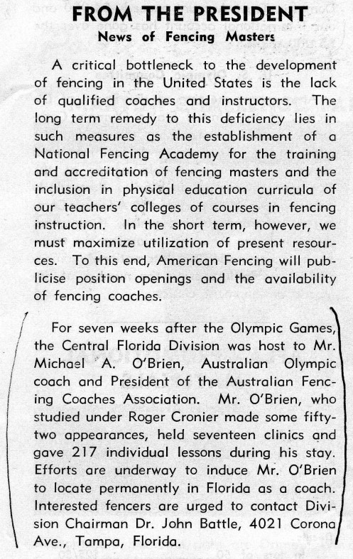 Excerpt From American Fencing March 1969
