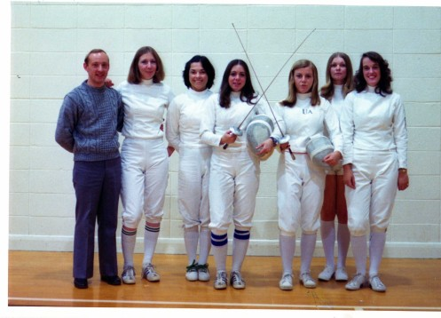 L-R: Tom Freeland (coach), Janet Shaw, Laura Sawyer, Sue Tngoldsby, Kim Sutherland, Mariola Czerkies, Helen Sachs