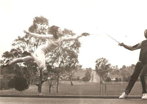 Mitzi Ferguson training with her coach Mtr. O'Brien