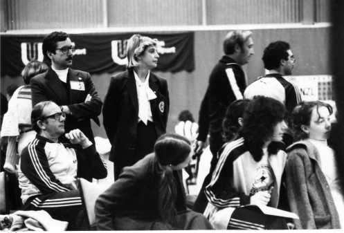 World Championships 1979 Melbourne Australian supporters L-R: Michael O'Brien, Neil Archibald, Robyn Chaplin, Kate Aherne, Liz Okalyi, Alex Kaufman, Gail Moody