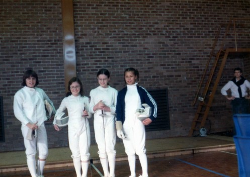 MAOB Academy Fencers L-R: Alison Alexander, Jo Halls, Evelyn Halls, Arieta Reeh