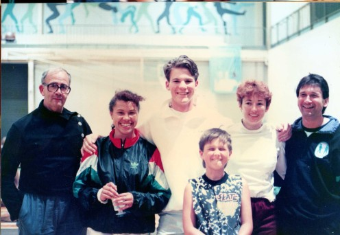 Coaches and Pupils L-R: Michael O'Brien, Arieta Reeh (Aust. Epee Champ. 91), ?? Tynan Worsfield, Siobhan Feeney (Mouncey) (Aust. Eppe Champ. 90), Gary Worsfield