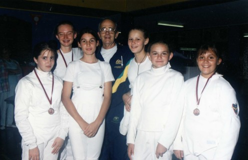 PYC Fencers and their Coach Maitre O'Brien (Early 90s)